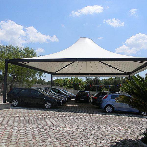 Gazebo Airone in acciaio per ombreggiatura auto e parcheggio coperto