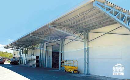 Tettoia industriale acciaio zincata a caldo Adriatica Chiusure