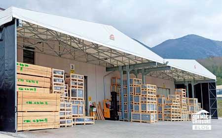 Tettoia industriale tamponata pvc Adriatica Chiusure